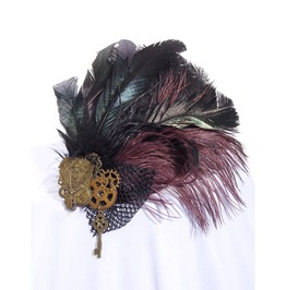 Gothic Black Women's Victorian Feathered Headdress