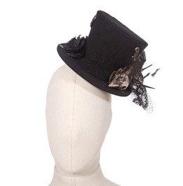 Gothic Black Women's Bird Skull Top Hat