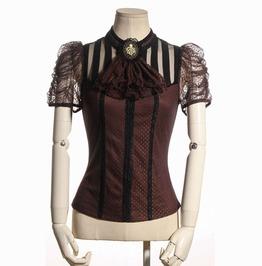 Steampunk Coffee Women's Short Sleeve Striped Top