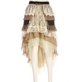 Steampunk Beige Women's Teared Skirt
