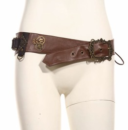 Steampunk Brown Leather Women's Gear Belt