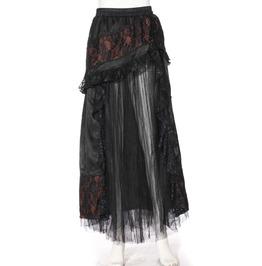 Steampunk Black Women's Ruffled Long Skirt