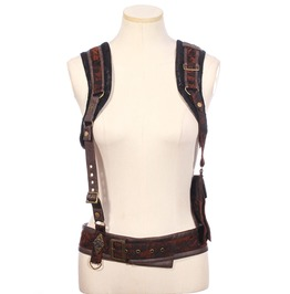 Steampunk Brown Women's Braces With Bag