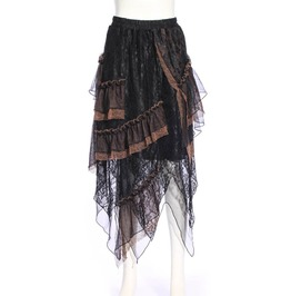 Steampunk Black Women's Long Tiered Skirt