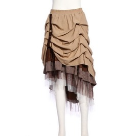 Steampunk Coffee Hitched Skirt And Net Trim