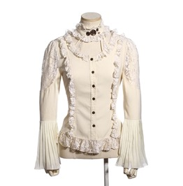 Steampunk White Women's Long Sleeve Blouse With Choker