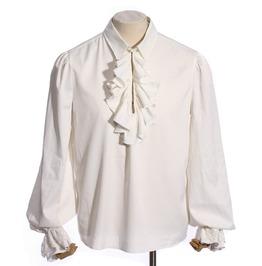 Gothic White Men's Ruffled Shirt With Jabot And Puffy Sleeve