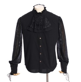 Gothic Black Men's Ruffled Shirt With Jabot And Puffy Sleeve