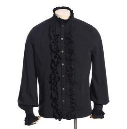 Gothic Black Men's High Ruffled Collar Shirt