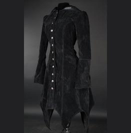 Ladies Black Velvet Gothic Witch Corset Back Hooded Coat