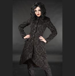 Ladies Red Black Brocade Victorian Gothic Knee Length Autumn Coat Free Ship