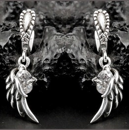 925 Sterling Silver Angel Wings Clear Crystal Dangle Earrings.