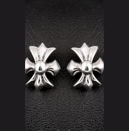 Earring Sterling Silver Medieval Cross Biker Rocker, Punk Earring E07