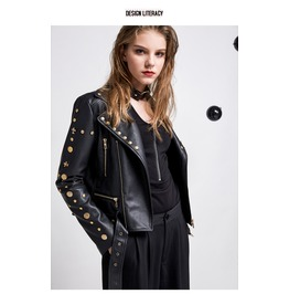 Steampunk Zip Up Long Sleeves Rivets Studded Pu Leather Short Jacket