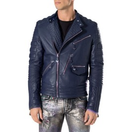 Men Navy Blue Motorcycle Leather Jacket, Mens Style Brando Leather Jacket