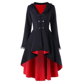 Gothic Lace Up Back Black And Red Hooded Outerwear