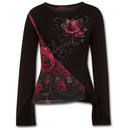 Blood Rose Sash Wrap Goth Sleeve Top