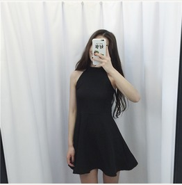 Korea Halter Little Black Dress Skater Dress Cocktail Women's Fashion