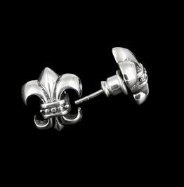 Earrings Sterling Silver, Medieval Fleur De Lis Biker Punk