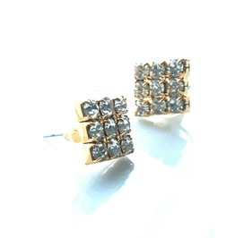 Eye Catching Gold Metal Square Stud Earrings With Diamantes
