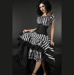 Black White Striped Long Bustle 3 Layer Victorian Gothic Pirate Skirt