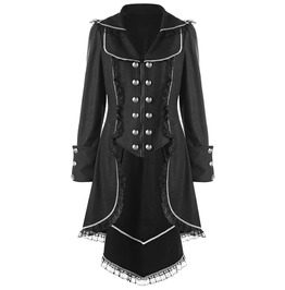 Double Breasted Lace Trimming Black Outerwear