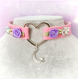 Bdsm Daddys Girl Choker Necklace Pink Faux Leather Heart Purple Rose Moon