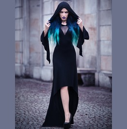 Black Gothic Witch Hooded High Low Dress Skt057
