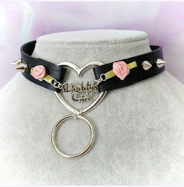 Bdsm Daddys Girl Choker Necklace Black Faux Leather Heart O Ring Pink Rose