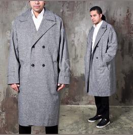 Classy Checkered Oversized Long Coat 154