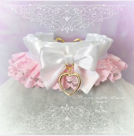 Kitten Pet Play Collar Ddlg Choker Necklace White Baby Pink Lace Bow Heart