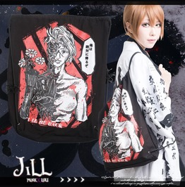 Street Punk Anime Ghost In The Shell Canvas Drawstring Backpack Jag0044
