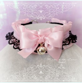 Kitten Pet Play Collar Ddlg Choker Necklace Baby Pink Black Lace Bow Bell