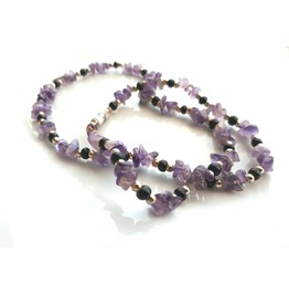 Beauty Original Amethyst Chip Bead Choker Necklace