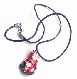 Handmade Father Christmas Pendant On Black Chord Choker Necklace Xmas