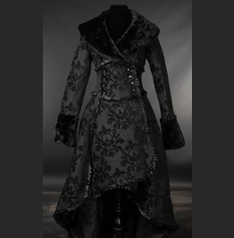 Ladies Black Skull Brocade Faux Fur Trim Corset Back Goth Winter Coat