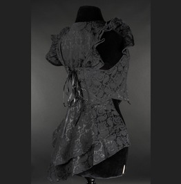 Ladies Black Brocade Victorian Goth Waist Coat Vest Free Shipping