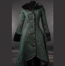 Black Green Jacquard Victorian Gothic Corset Back Long Winter Coat