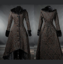 Womens Black Brown Jacquard Victorian Gothic Corset Back Long Winter Coat
