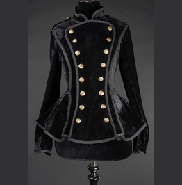 Women's Black Velvet Victorian Military Coat Steampunk Jacket