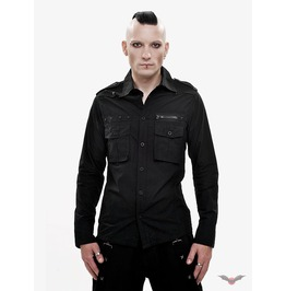 Black Long Sleeve Military Look Shirt