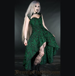 Black Green Victorian Gothic Steel Boned Tapered Collar Dress Free To Ship