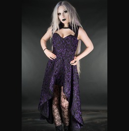 Black Purple Victorian Gothic Steel Boned Tapered Collar Dress Free To Ship