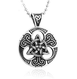 Men's Viking Carved Pendant Titanium Stainless Steel Necklace