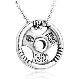 Unisex's Steering Wheel Letter Carved Pendant Steel Necklace