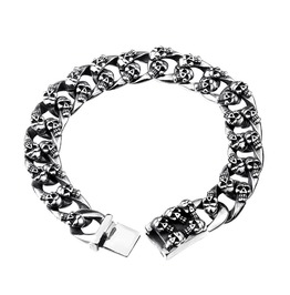 Men's Skull Carved Link Stainless Steel Bracelets