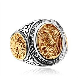Men's Dragon And Phoenix Carved Titanium Stainless Steel Ring