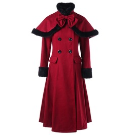 Women's Winter Woolen Pea Bowknot Double Breasted Slim Fitted Coat