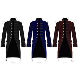 Mens Pentagramme Jacket Party Gothic Steampunk Victorian Frock Coat