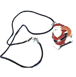 Traditional Enamel Father Christmas Pendant On Black Chord Choker Necklace
